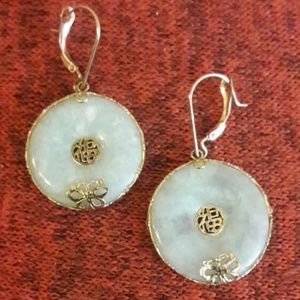 14k Gold Jade/Jadeite Earrings